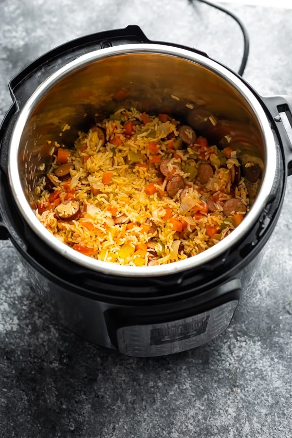 Cajun rice and sausage in the instant pot after cooking