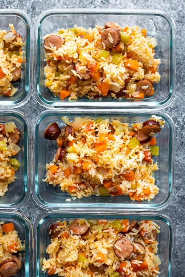Cajun rice for food preparation in food preparation containers