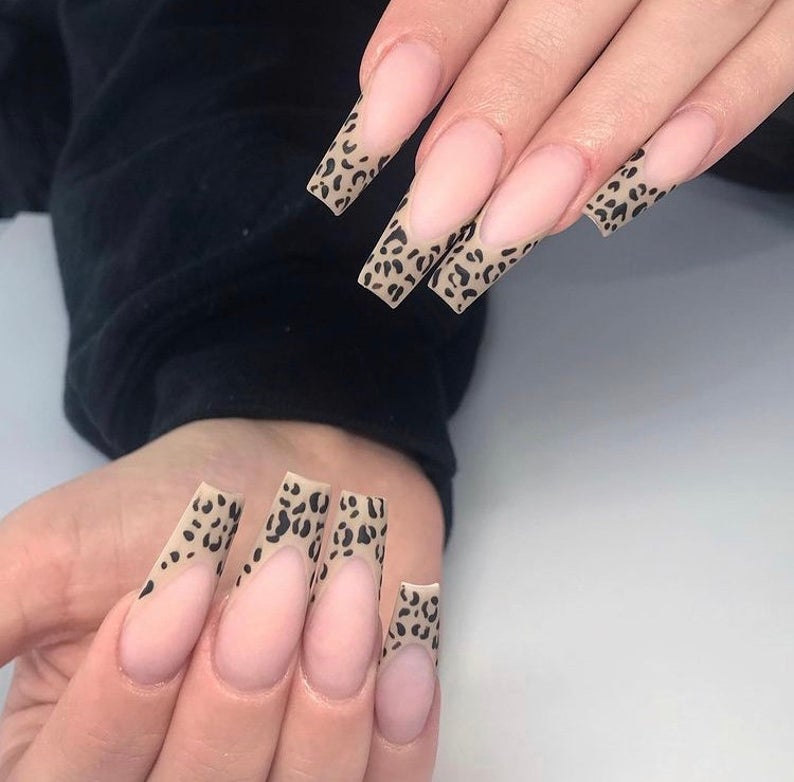 Clean nails with leopard tip
