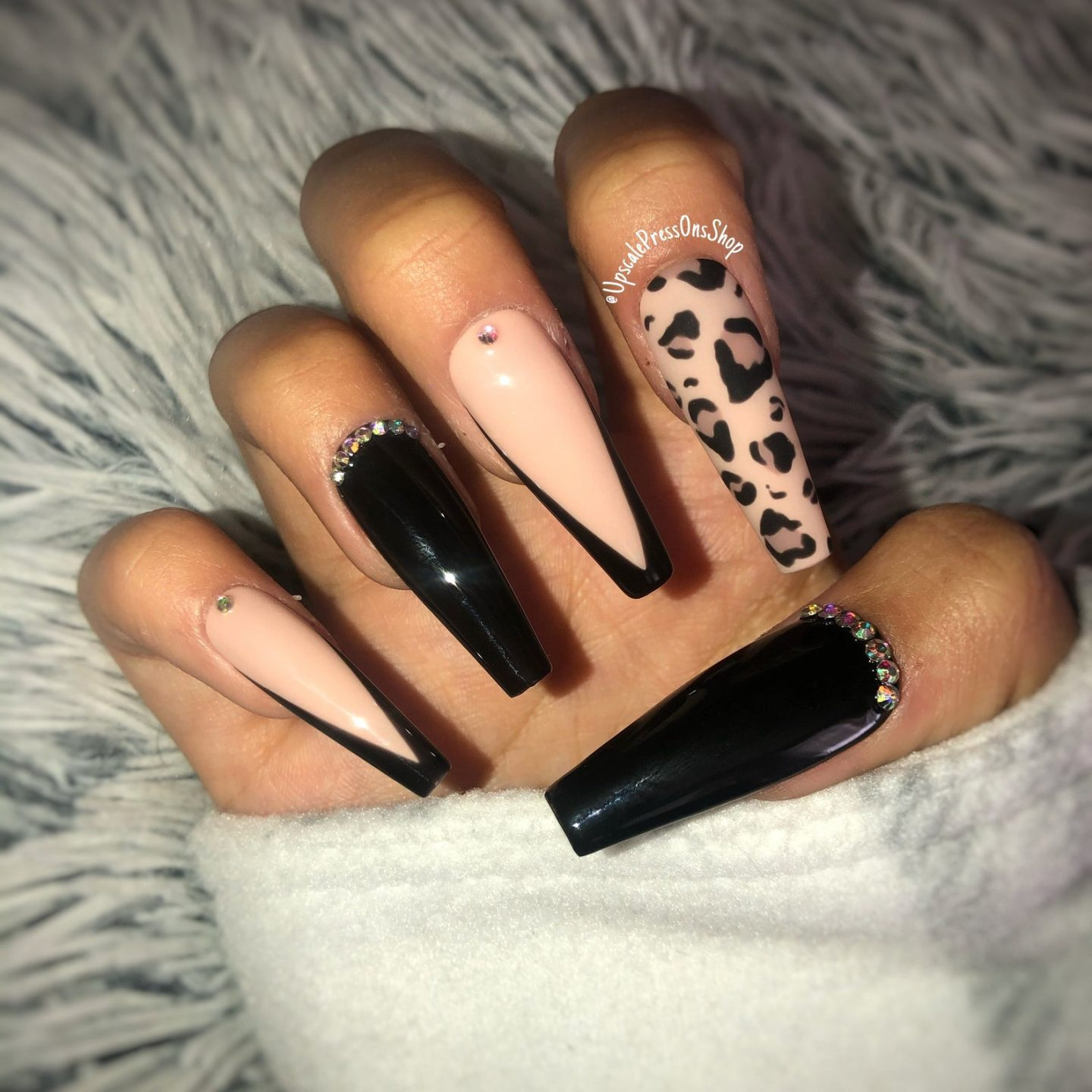 Black leopard print french tip nails