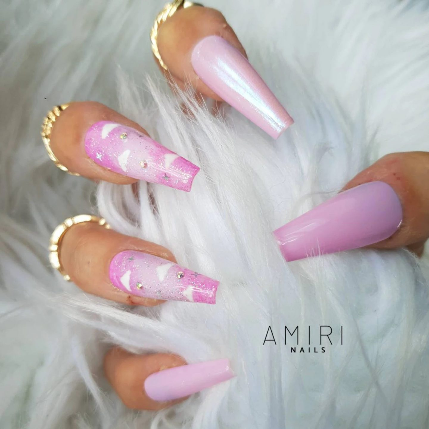Cotton candy holographic pink cloud nails