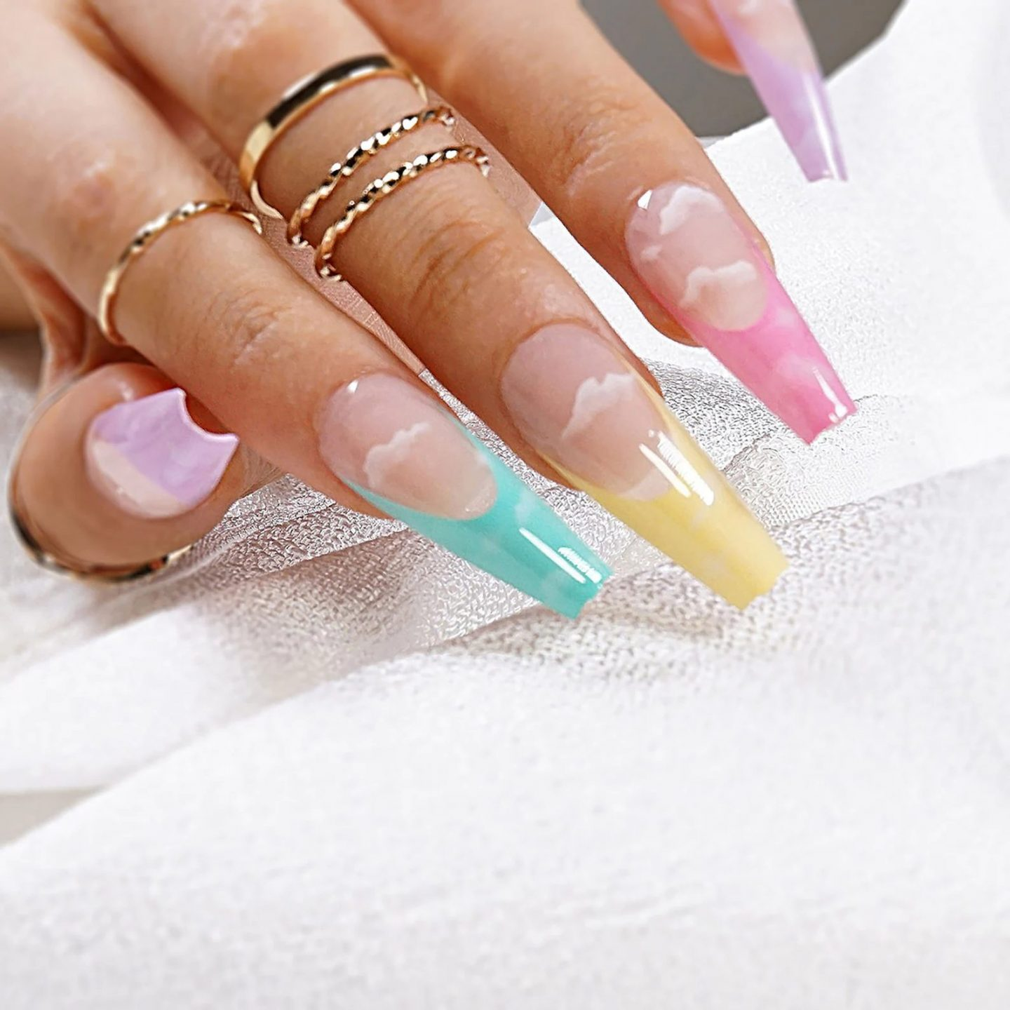 Pastel Ombre French Tip Zero with Cloud Nail Art