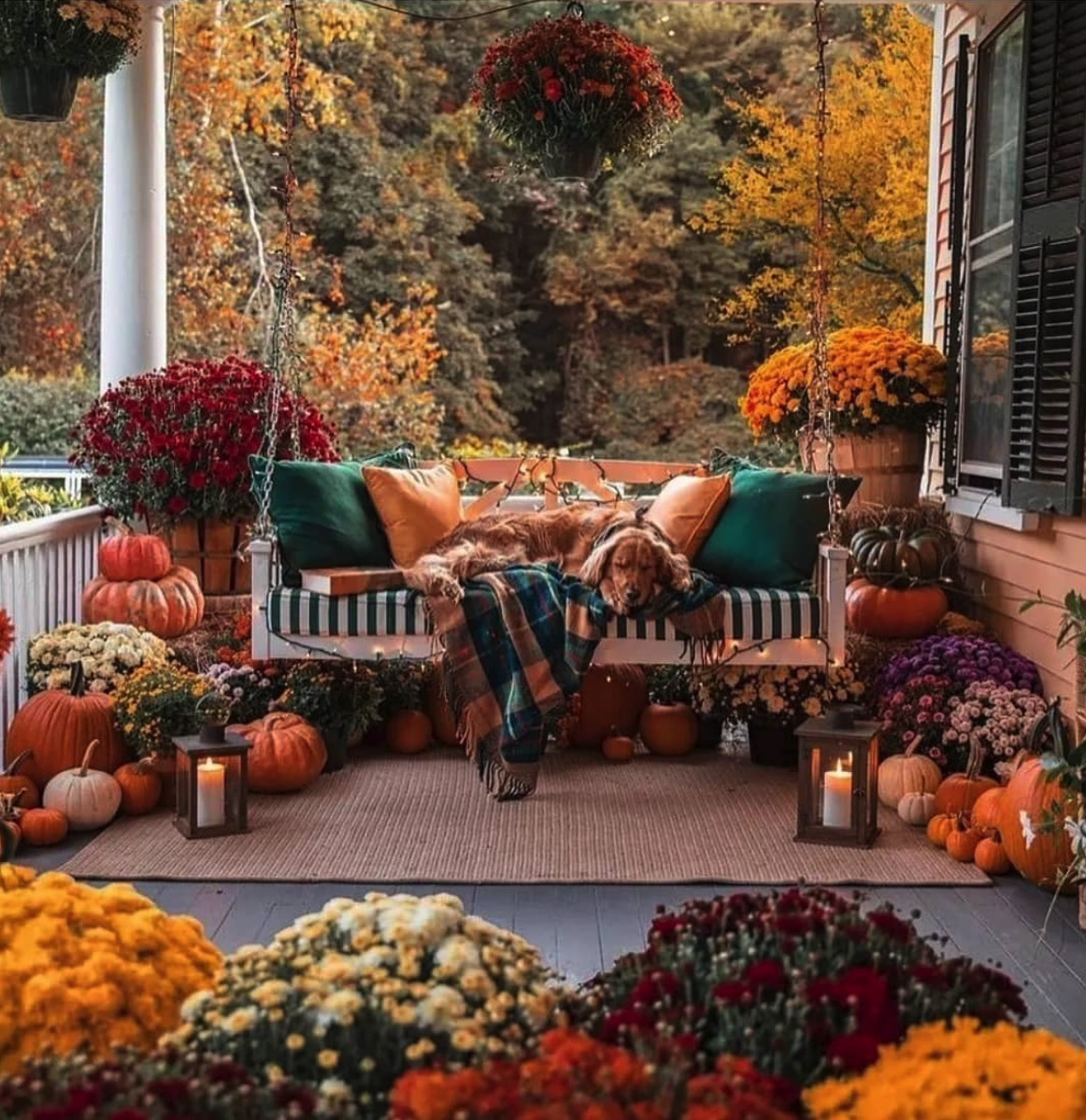 Fall-porch decoration-ideas with pumpkins-mothers-and-swings