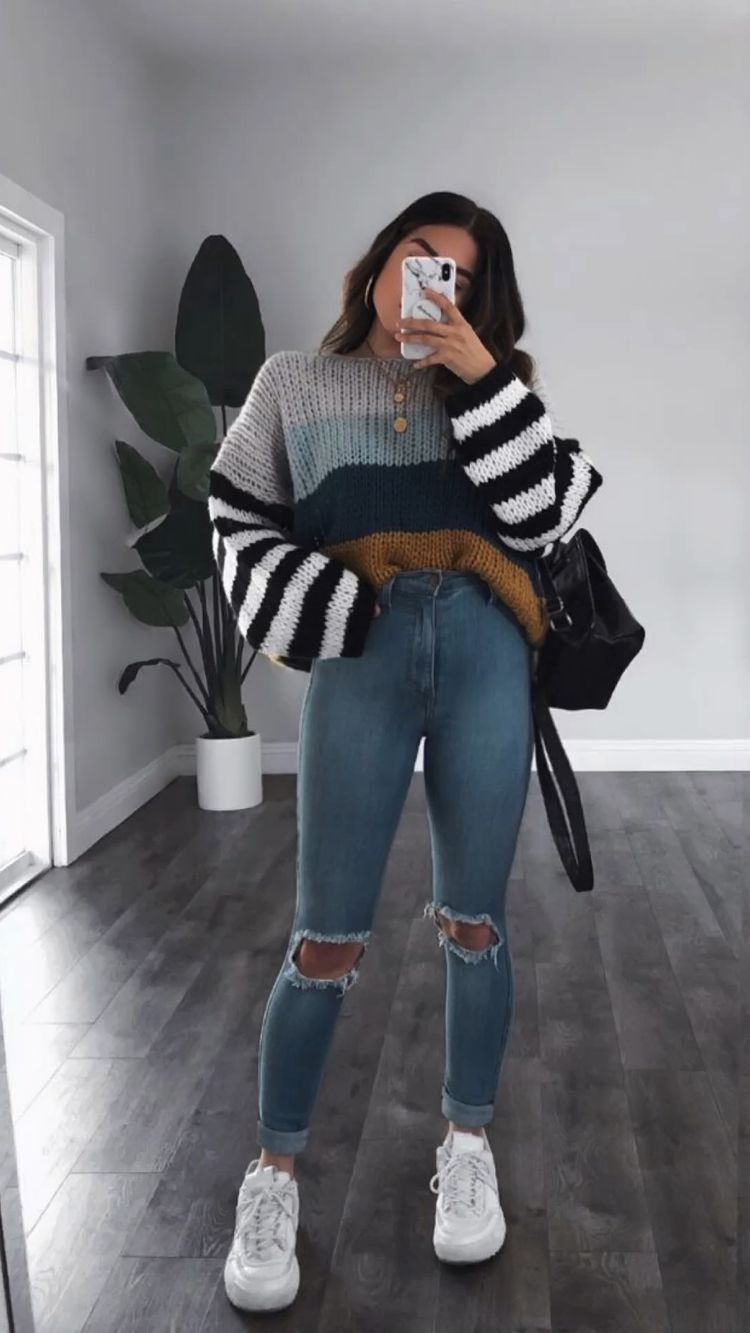 Multi-colored knitted sweater top for back-to-school outfits