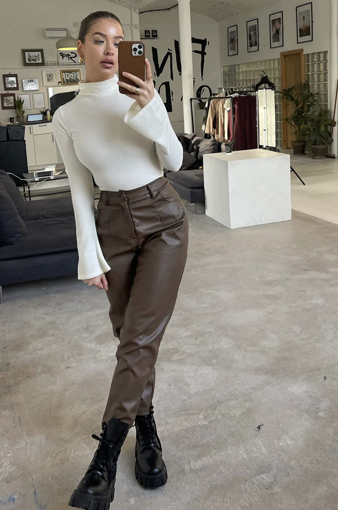 Sweet back-to-school outfit with brown leather pants
