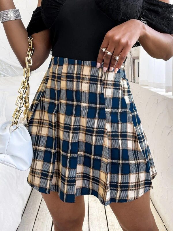 Blue checked mini skirt for school outfits