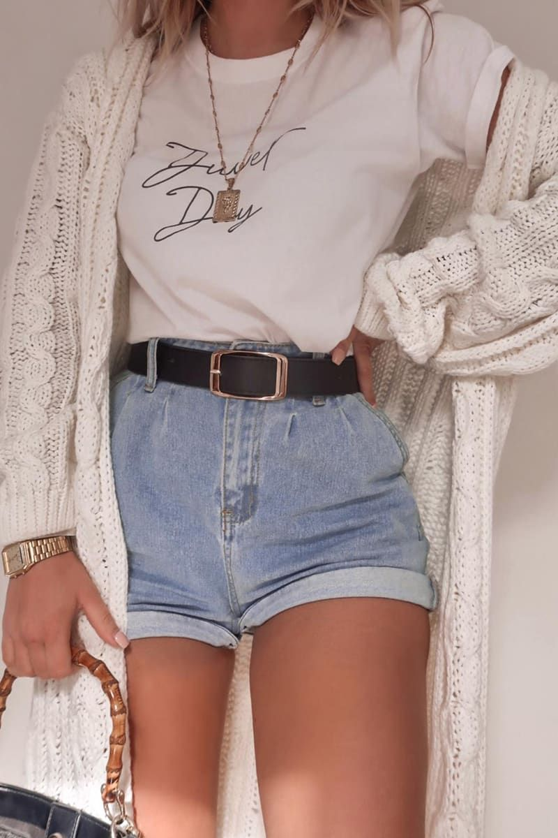 Back to school uniform with shorts and cardigan
