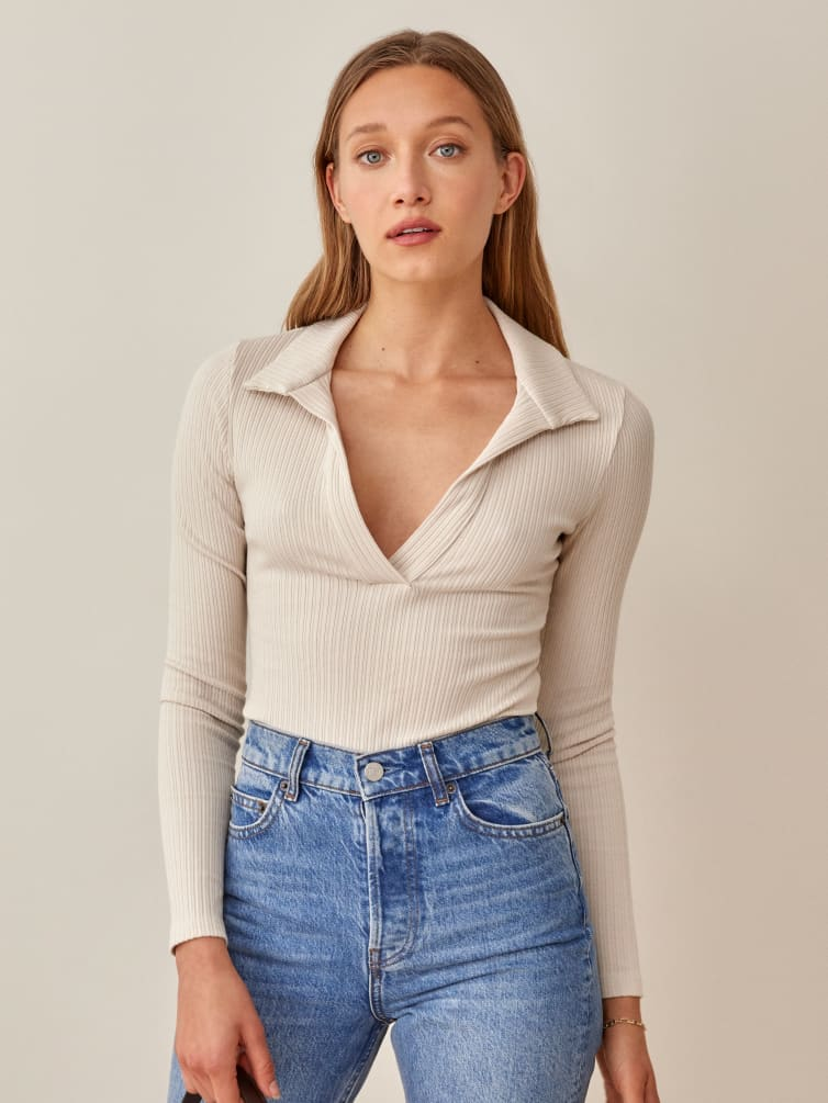 Simple, ribbed long sleeve top with collar for back-to-school outfits