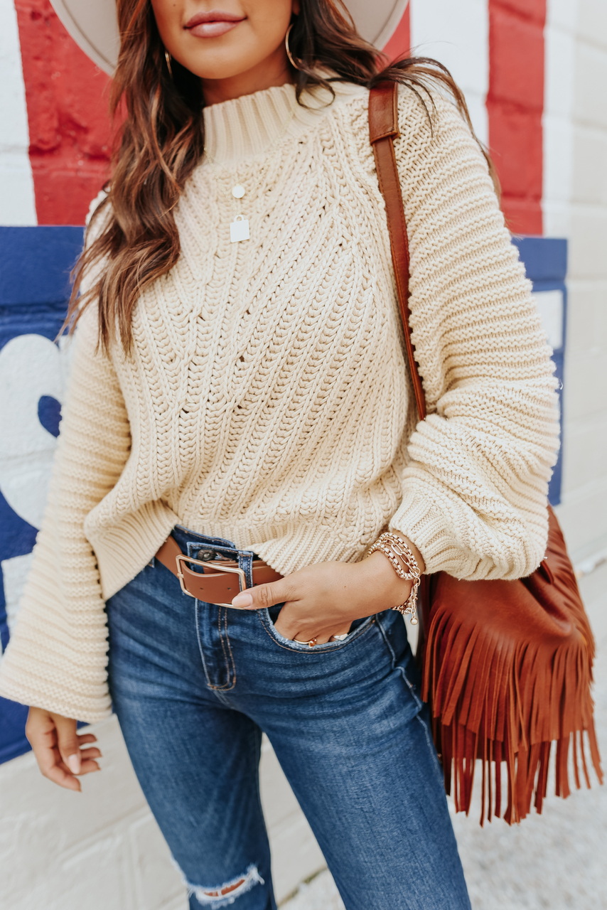 cute cream colored sweater outfit
