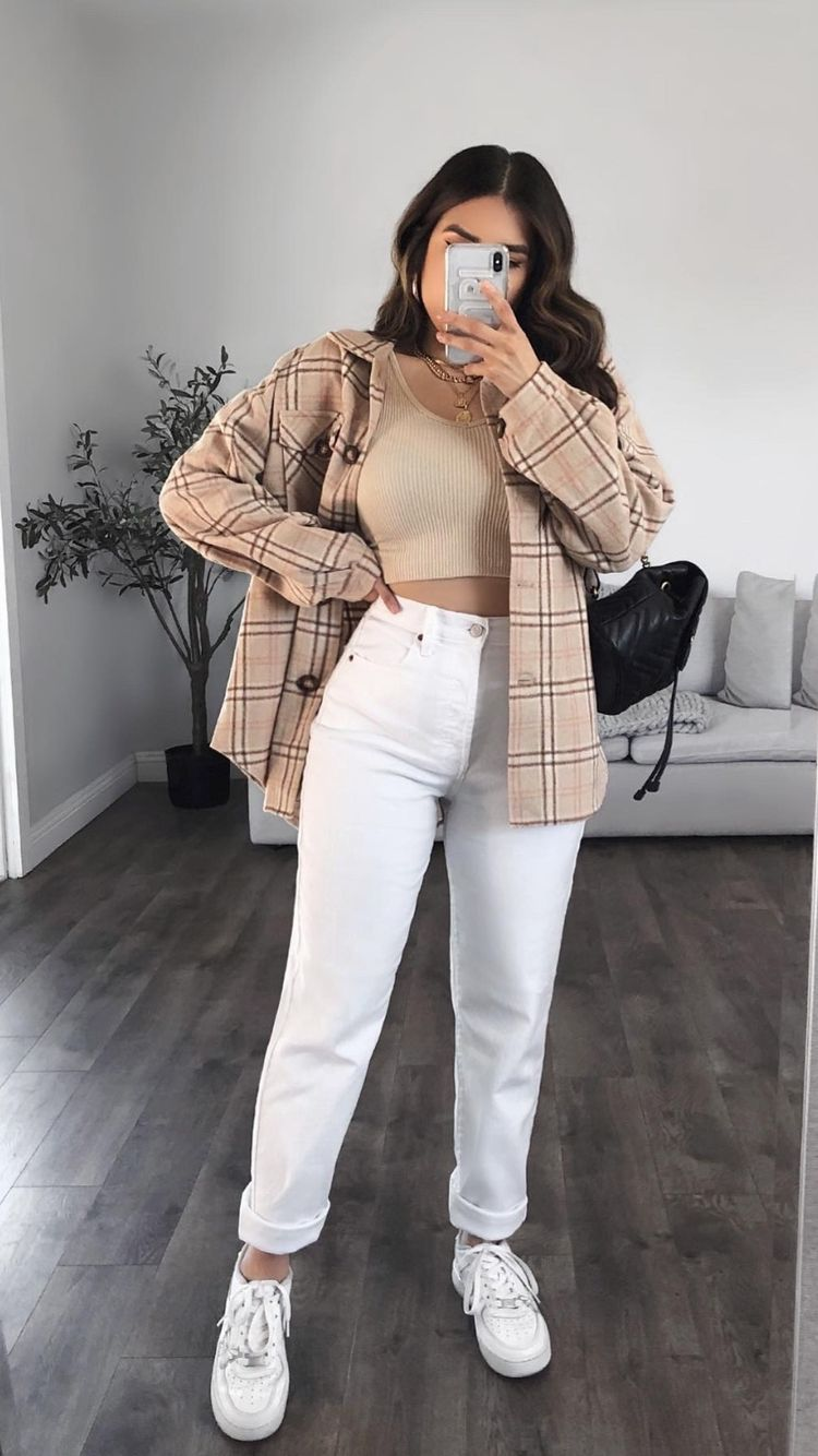 Checked blazer and white pants for back-to-school outfits
