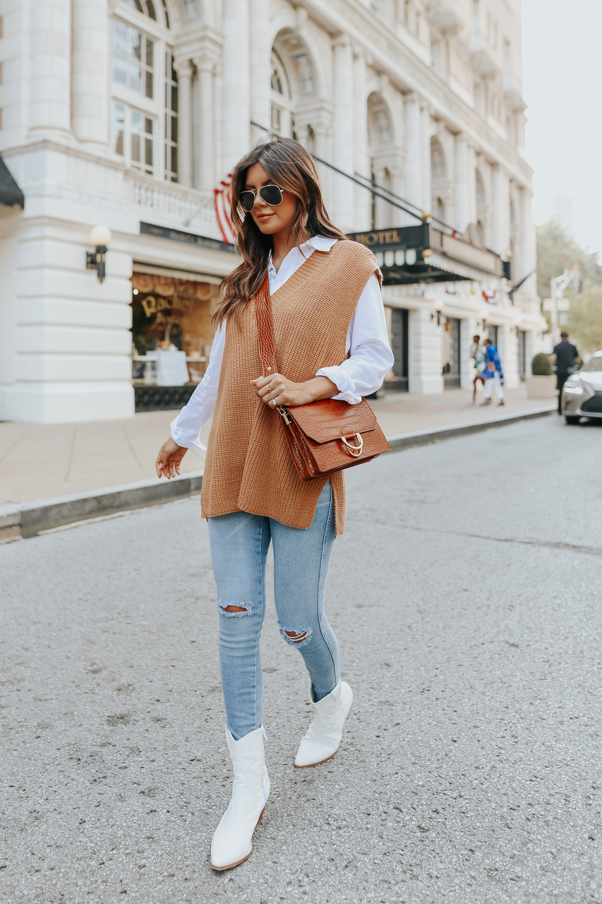Sweet autumn outfit with sweater vest