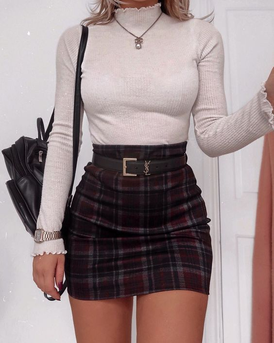 Long-sleeved turtleneck top and checked mini skirt for school outfits