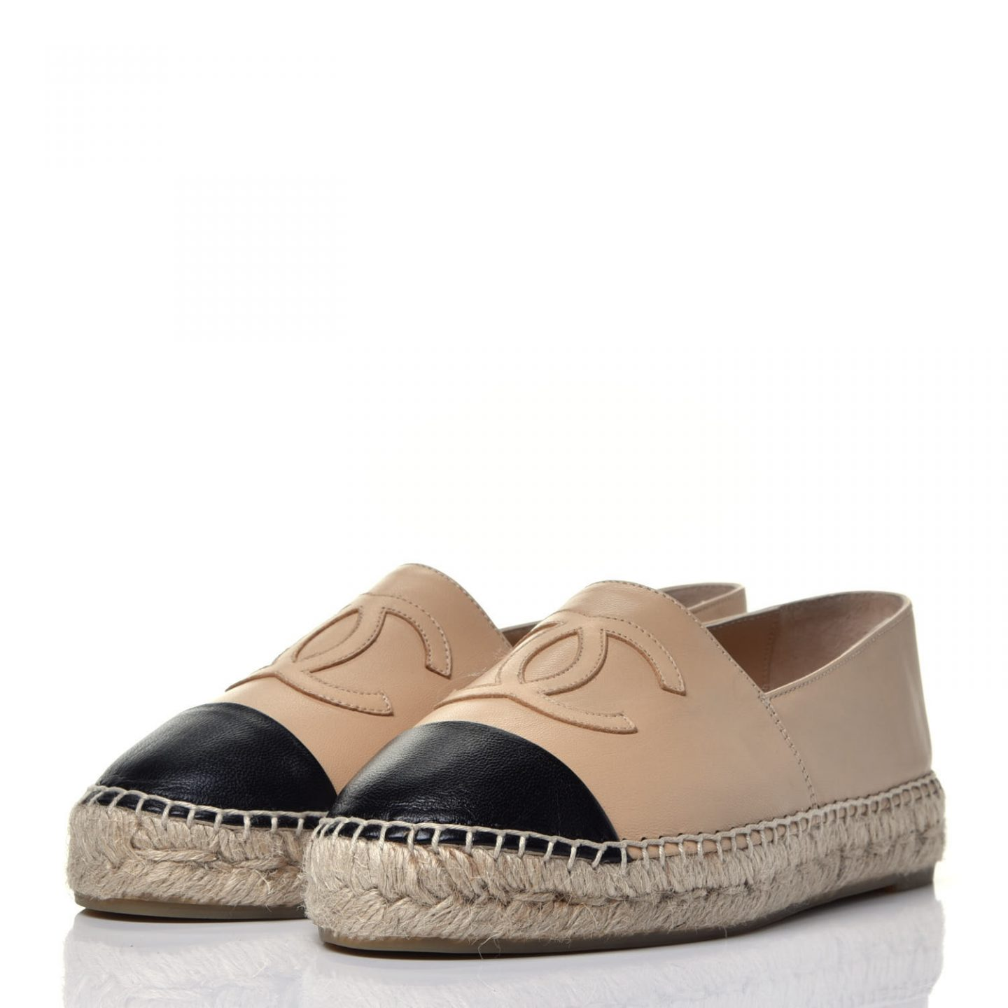 Two-tone Chanel lambskin espadrilles by Fashionphile